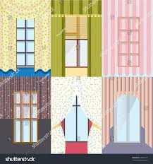 types of curtains colorful classic windows collection different types stock vector