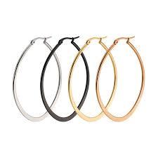earring hoops 2017 fashion oval earring hoops stainless steel women