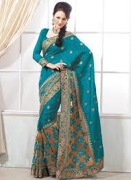 blue sari with golden brown border rampdiary fashion blog