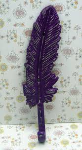 Shabby Chic Purple by Feather Cast Iron Boho Wall Hook Purple Shabby Chic Bohemian Home