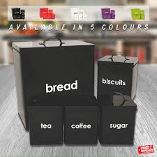 black red cream tea coffee sugar canisters bread bin 5 piece