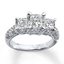 stone wedding rings images Kay 3 stone diamond ring 2 ct tw princess cut 14k white gold jpg