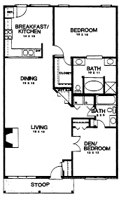 3 Bedroom Cottage House Plans by 2 Bedroom 1 Bath House Plans