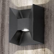 eglo morino black cube led up and wall light wall mounted