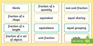 ks1 fractions key word cards maths vocab vocabulary key