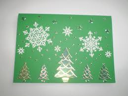 green card with christmas tree stickers white snowflake stickers