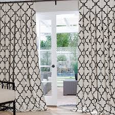 White And Brown Curtains Geometric Custom Drapes White Trellis Brown And Iron Gates