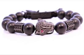 onyx bracelet with diamonds images Black onyx with cz diamond jaguar bracelet noral collections JPG