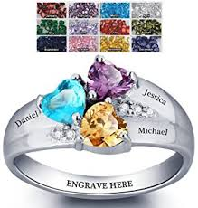 ring with birthstones engagement ring promise ring for couples 2 heart