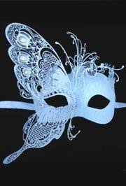blue masquerade masks white venetian masquerade mask with white iridescent metal laser cut