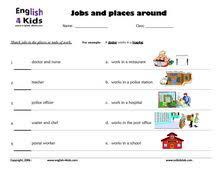 esl kids worksheets jobs u0026 occupations actions u0026 places worksheets