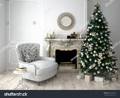 christmas living room tree fireplace 3d stock illustration