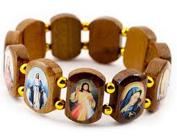 religious bracelets 6845 4 wooden bracelet with holy images rosarycard net