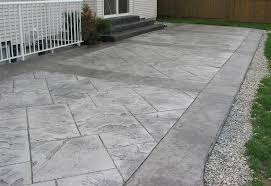 Backyard Flooring Ideas by Decorating Exterior Home Design Using Stamped Concrete Patio For