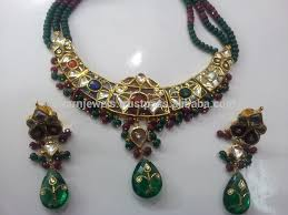 gold set traditional vintage 22k gold navratan kundan necklace set buy