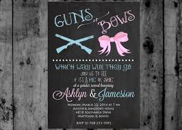 guns or bows gender reveal baby shower invitation