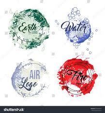 set logos earth air sea stock vector 418629529