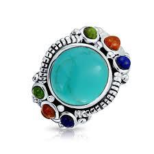 round turquoise coral lapis 925 silver gemstone statement ring