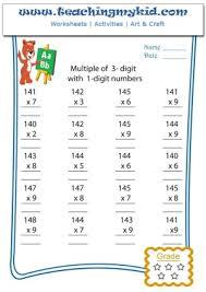 mathematics free worksheets multiplication 3 1 digits 8