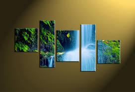 5 piece green waterfall scenery artwork