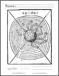 spider coloring kids student handouts