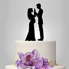 black wedding cake toppers and groom silhouette wedding cake
