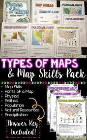 What Do Maps Use To Indicate The Cardinal Directions Types Of Maps And Map Skills Pack Social Studies Grades 2 5 Map