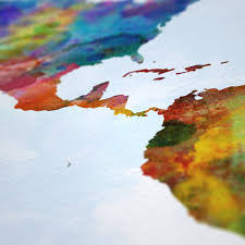 World Map Art Print by World Map Painting Art Print Blue By Artpause Notonthehighstreet Com