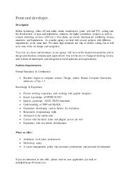 Front End Web Developer Resume Sample Web Developer Job Description Resume Sample Apparel Product