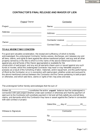 waiver of lien template free contractor s release and waiver of lien wikiform