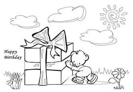 happy birthday present coloring pages greeting card free