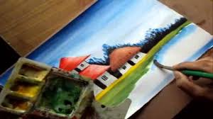 how to paint a village scenery in water color drawing houses