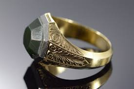 mens rings antique images 14k 9 3g green agate antique scroll engraved men 39 s yellow gold jpg