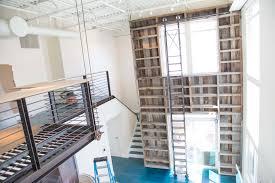 Sliding Bookshelf Ladder Reclaimed Tobacco Barn Wood Bookcase With Sliding Ladder Porter