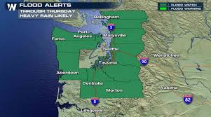 seattle flood map heavy concerns prompt flood watches in washington weathernation