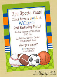 sports printable birthday invitation personalized sports birthday