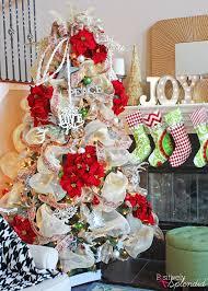 poinsettia and ribbon christmas tree