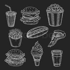 fast food lunch meal chalk sketch on blackboard hamburger and