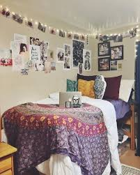 Dorm Interior Design by Plain White Duvet And Sheets With Patterned Tapestry Blanket And