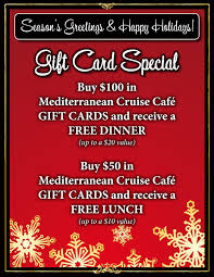 dinner and a gift card gift card special