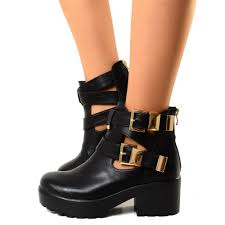 black biker boots biker boots cut out stivaletti con zeppa platform boots black