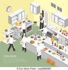 centre de formation cuisine restaurant cooking room isometric poster restaurant vector