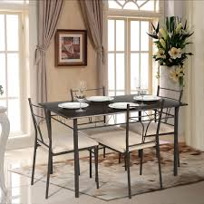 brown ikayaa modern 5pcs metal frame padded dining table chairs