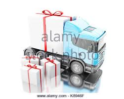 presents delivery presents delivery service concept truck with a gift box 3d stock