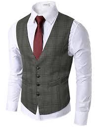 doublju mens trendy button lightweight checkered vest brown
