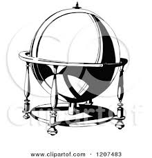 clipart of a vintage black and white ornamental globe royalty