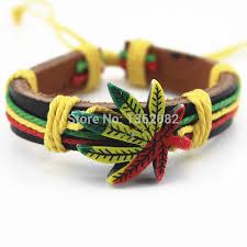 leather leaf bracelet images 12pcs hand woven colorful hemp weed lucky leaf leather bracelets jpg