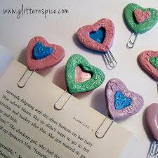 how to make heart shaped polymer clay paperclip bookmarks