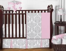 Pink And Grey Comforter Set Damask Crib Bedding Ebay