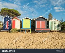 colourful bathing boxes on mills beach stock photo 629746409
